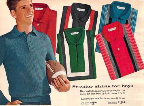 Publicité américaine des années 50 pour des polos Les Boomeurs
