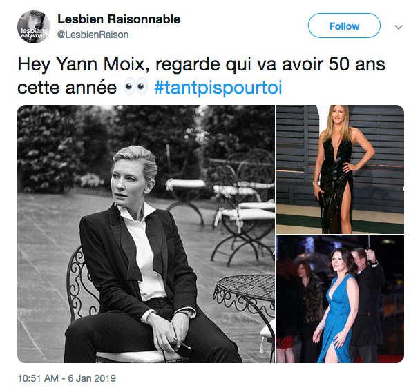 Tweet répondant aux propos de Yann Moix sur les femmes de 50 ans Les Boomeurs