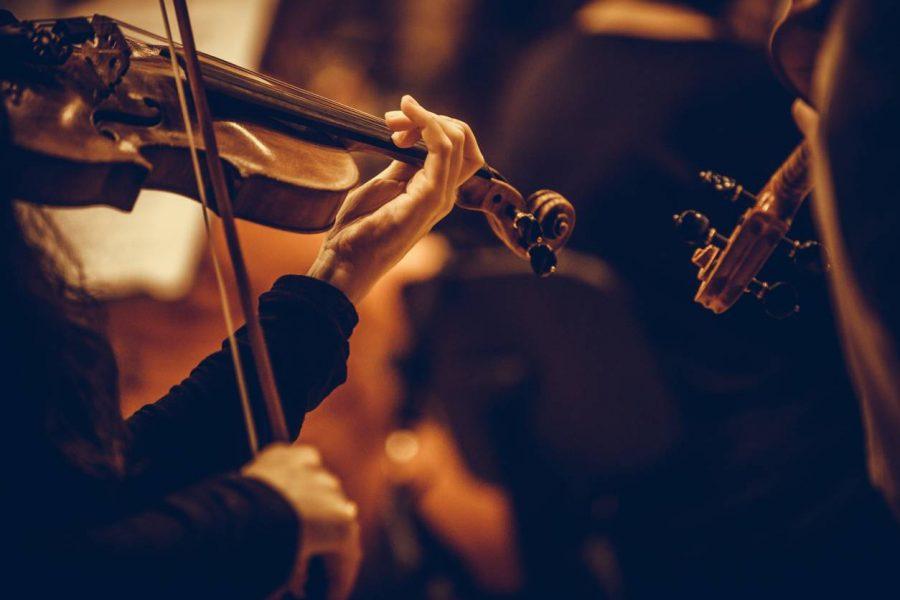 Homme jouant du violon lors d'un festival de musique classique