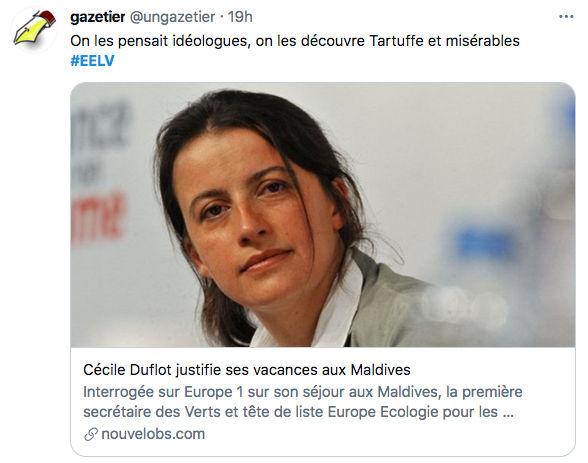 Twwet Cécile Duflot EELV