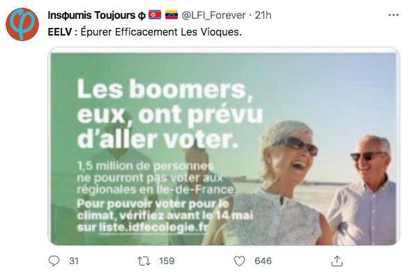 Tweet Boomeurs EELV